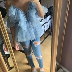 Tops - Blue tulle top